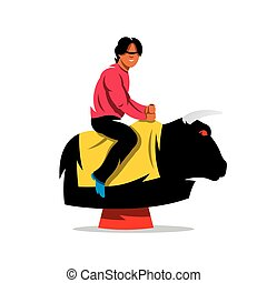 Vector Bull Ride Cartoon Illustration. - Man on the...