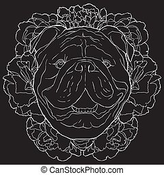 Vector bulldog and flowers white contour sketch on black background. Dog face drawing in front of peonies.