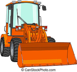 vector bulldozer - vector orange bulldozer with bucket