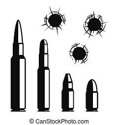 Vector bullet holes set. Violence and crime, gunshot and...