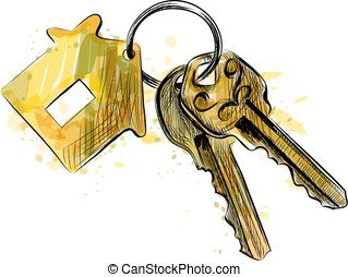 Vector bunch of keys with house shaped trinket - Bunch of...