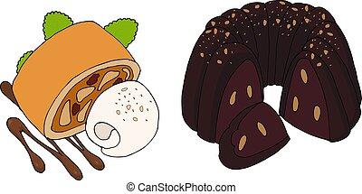 Vector bundt cake and apple strudel.
