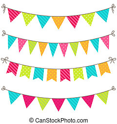 Vector Bunting - Vector set of colorful and bright bunting
