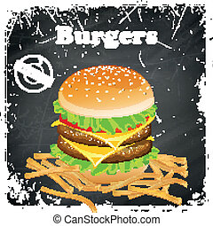 Vector Burger Poster on a Black Chalkboard