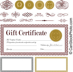 Vector Burgundy Gift Certificate and Ornament Set. Easy to edit. Perfect for invitations or announcements.