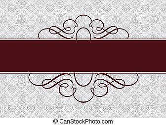 Vector Burgundy Ribbon Frame - Vector ornate frame. Easy to...