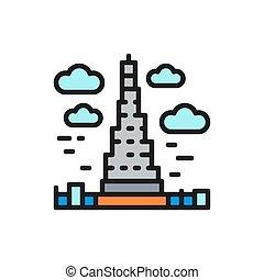 Vector Burj Khalifa, United Arab Emirates, landmark flat color line icon.