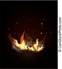 Vector burning fire on a dark (night) background.