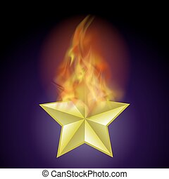 Vector Burning Star with Fire Flame