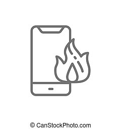 Vector burnt smartphone, damaged phone line icon.