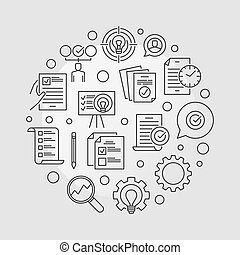 Vector Business Action Plan circular outline illustration