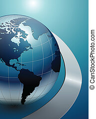 vector business background blue with earth globe