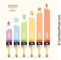 Vector business  brush infographics. Flat
