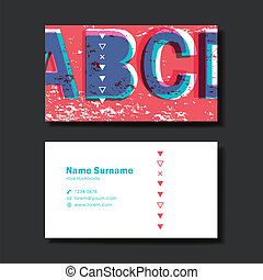vector business card design template of red