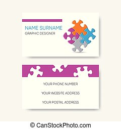 Vector business card template puzzle pieces design