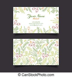 Vector business card template with floral pattern