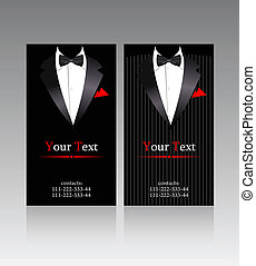 Vector business cards with suits
