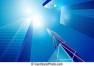 Vector business center | skyscrapers background - Vector...