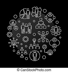Vector Business Collaboration round outline illustration