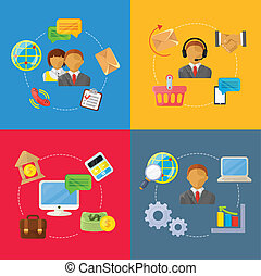 vector business concept flat Icons