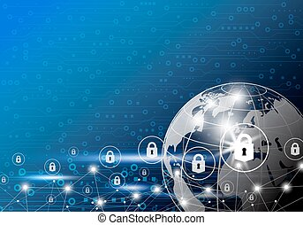 Vector business concept of global network security design on digital technology background with copy space