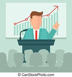 Vector business conference concept in flat style - man...