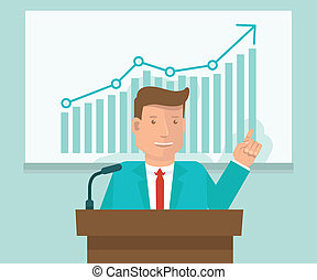 Vector business conference concept in flat style - man ...