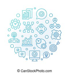 Vector Business Consulting round blue outline illustration