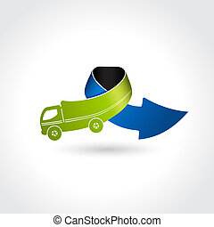 Vector business delivery symbol, transport icon, truck with arrow