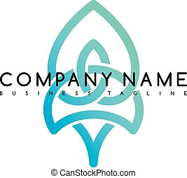 Vector Business emblem blue knot symbol curve looped icon logo logotype