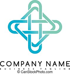 Vector Business emblem blue knot symbol curve looped icon...