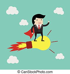 vector business finance. idea for investment concept,cartoon businessman with bulb  cartoon vector illustration for business design