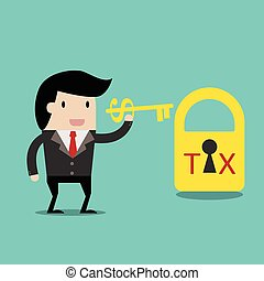 vector business finance. Tax Deduction for investment concept,cartoon businessman with key in his hand to un lock. cartoon vector illustration for business design