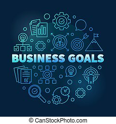 Vector Business goals round blue outline illustration