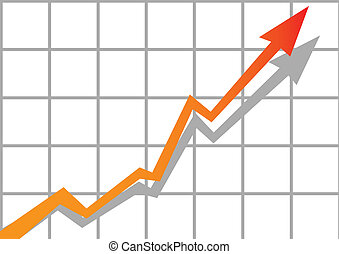 vector business graph with arrow showing profits and gains on grid.