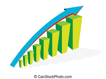 vector business graph with arrow showing profits and gains.