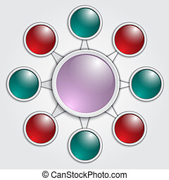 Vector business graphic template with red, blue and pink glass circles