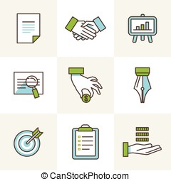 Vector business icons in outline style
