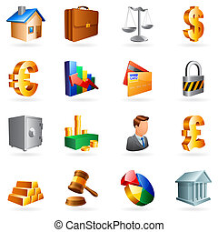 Set of 16 vector business and office icons.