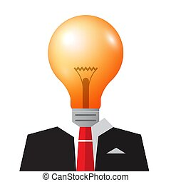 Vector Business Idea Symbol with Bulb and Suit