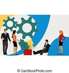 Vector business illustration, leadership qualities in a creative team, direction to a successful path, overcoming obstacles on the way to success, high level of work.