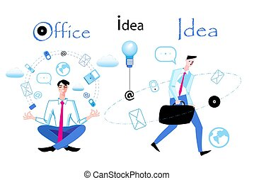 Vector business illustration with managers in work on a white background