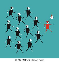 Vector business leadership concept in flat cartoon style