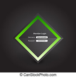 Vector business login page background on black