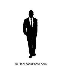 vector business man black silhouette walk step forward