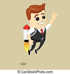 Vector business man fly on the rocket. Flying businessman with jetpack.