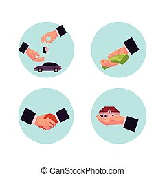 vector business man hands icon set