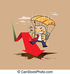 business man risk, parachute