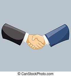 Vector business man shaking hands. Strong and firm handshake clap. Modern flat style vector illustration isolated