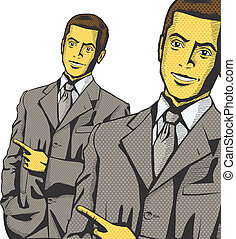 Vector Business Man Show Something With Finger - Idea...